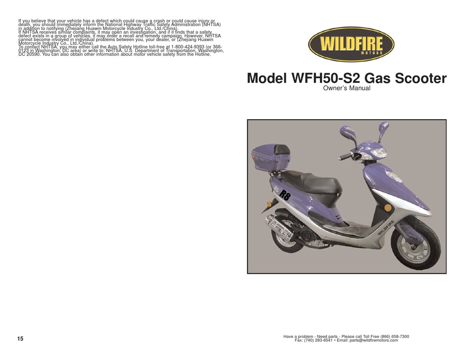 WILDFIRE WFH50-S2 OWNER'S MANUAL Pdf Download   ManualsLib   Wildfire Scooter Kick Stand Saftey Switch Wiring Diagram      ManualsLib