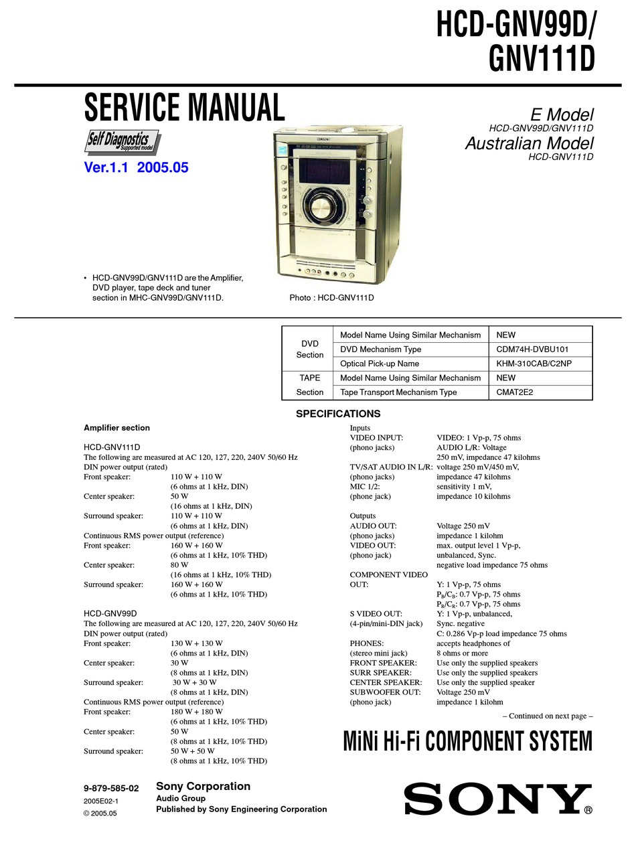 Sony Hcd Gnv99d Service Manual Pdf Download Manualslib