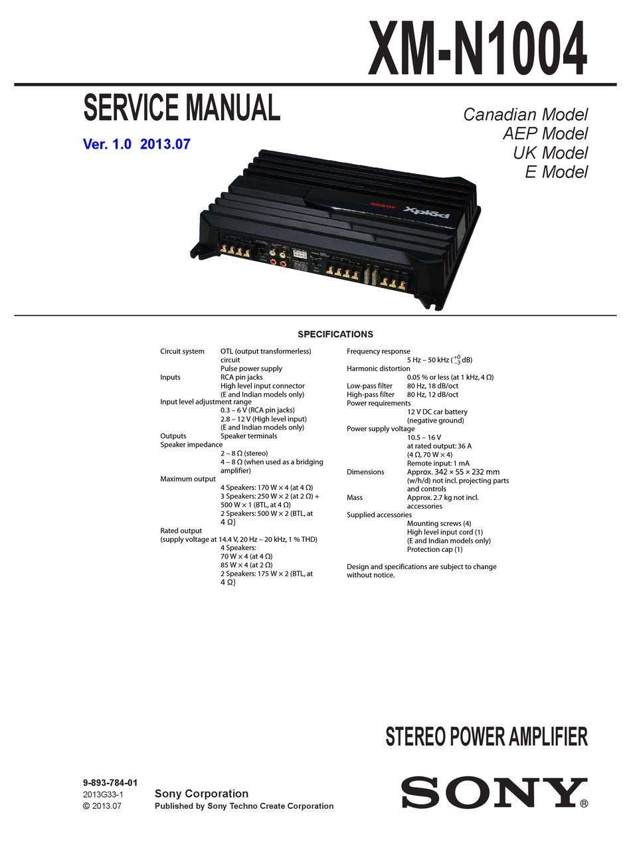 SONY XM-N1004 SERVICE MANUAL Pdf Download | ManualsLibManualsLib