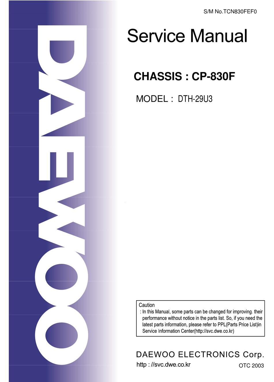 Daewoo Dth 29u3 Service Manual Pdf Download Manualslib