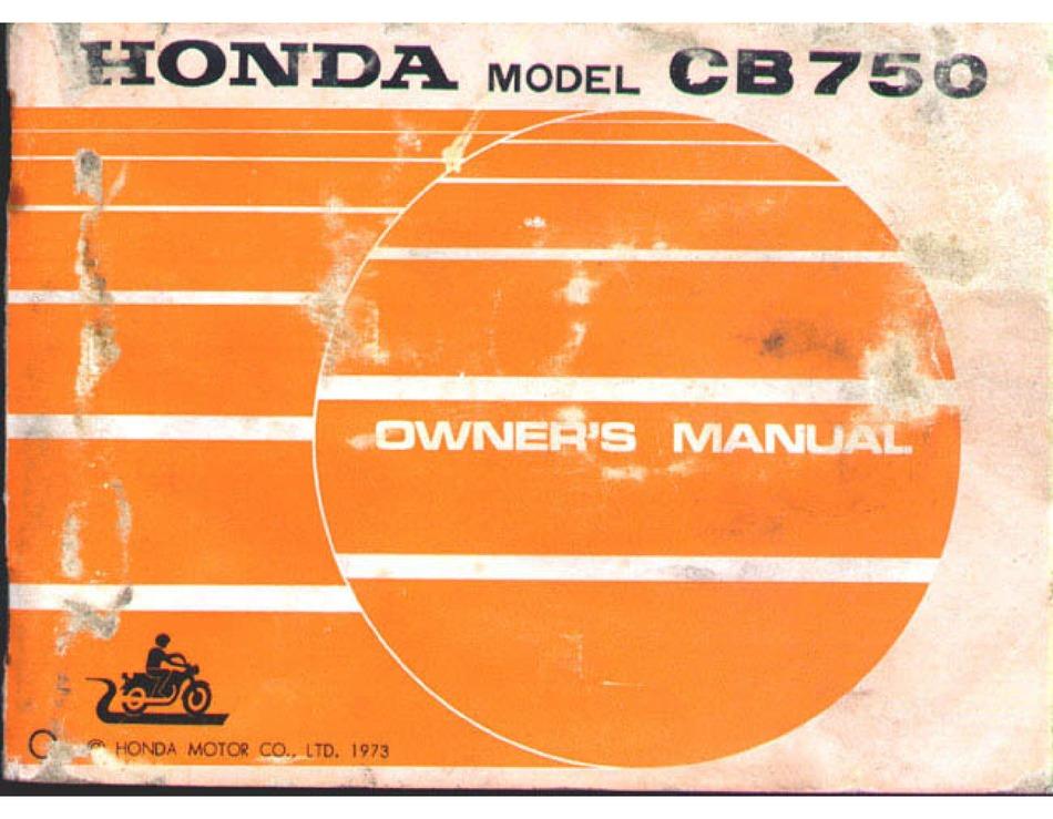 Honda Cb750 Owner S Manual Pdf Download Manualslib