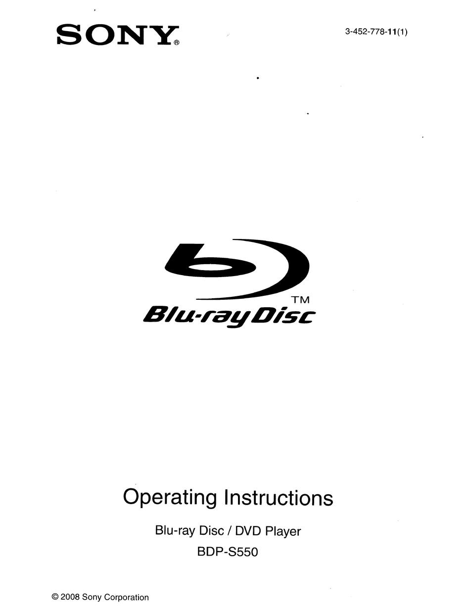Sony Bdp S550 Operating Instructions Manual Pdf Download Manualslib