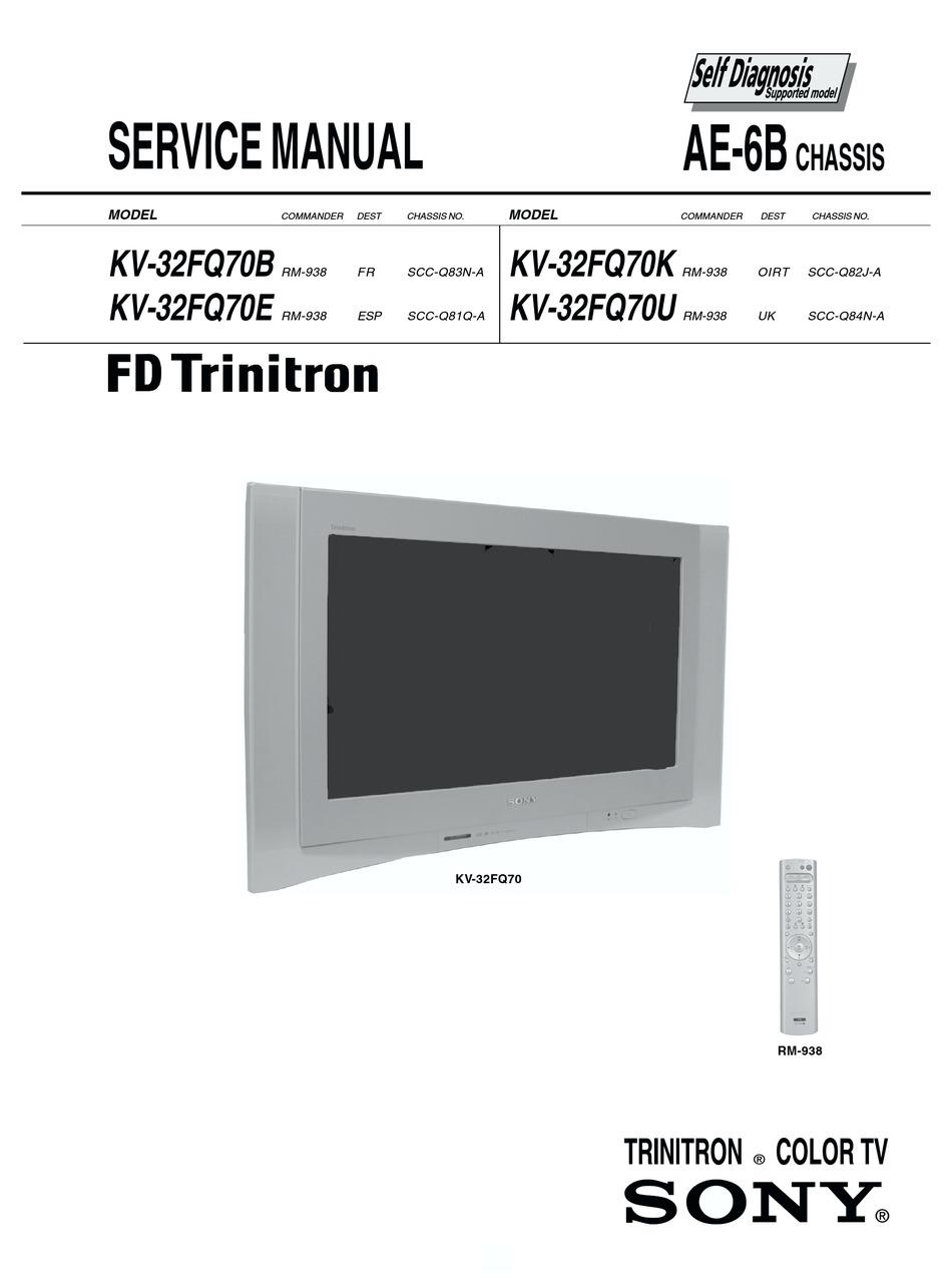 Sony Fd Trinitron Kv 32fq70b Service Manual Pdf Download Manualslib