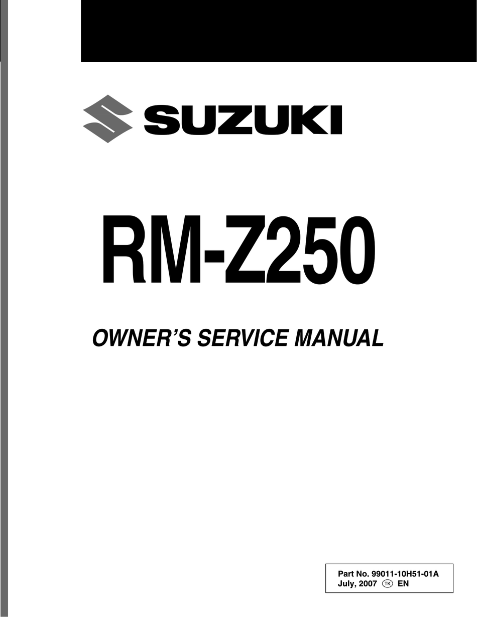 Suzuki Rm Z250 Owner S Service Manual Pdf Download Manualslib