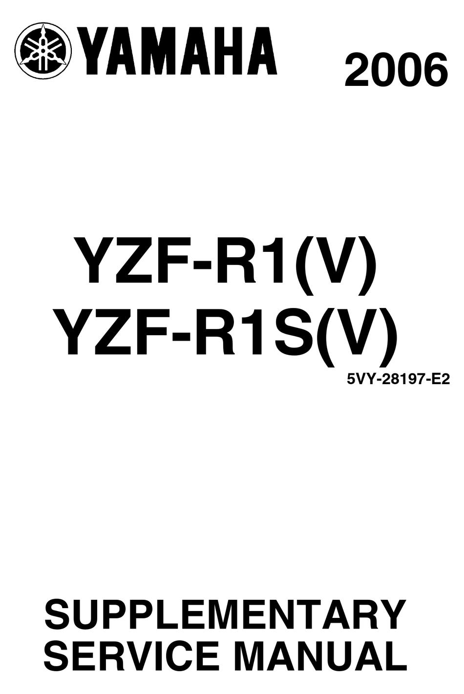 Yamaha 2006 Ysf R1 V Supplementary Service Manual Pdf Download Manualslib