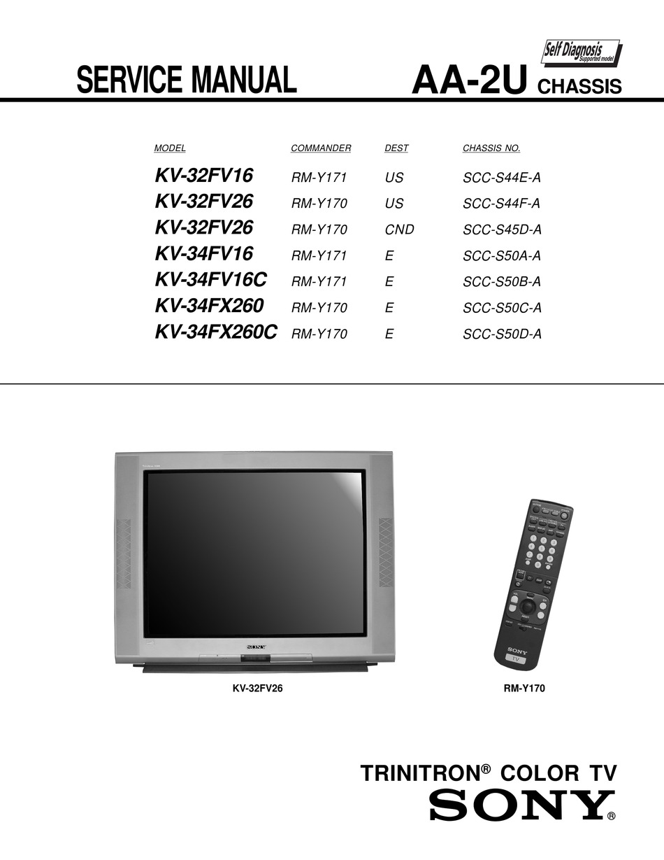 Sony Kv 32fv16 Service Manual Pdf Download Manualslib