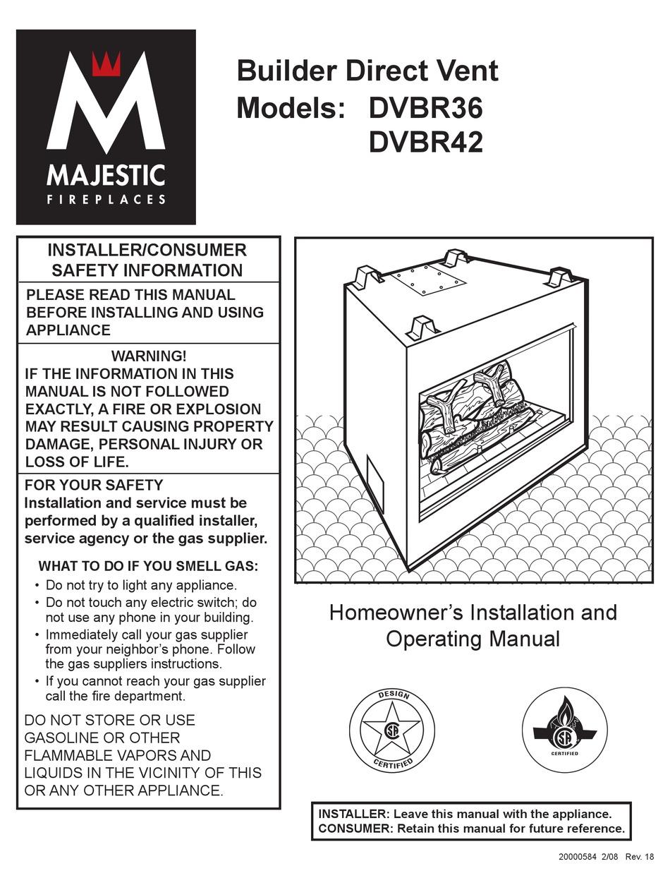 Majestic Fireplaces Dvbr36 Homeowner S Installation And Operating Manual Pdf Download Manualslib
