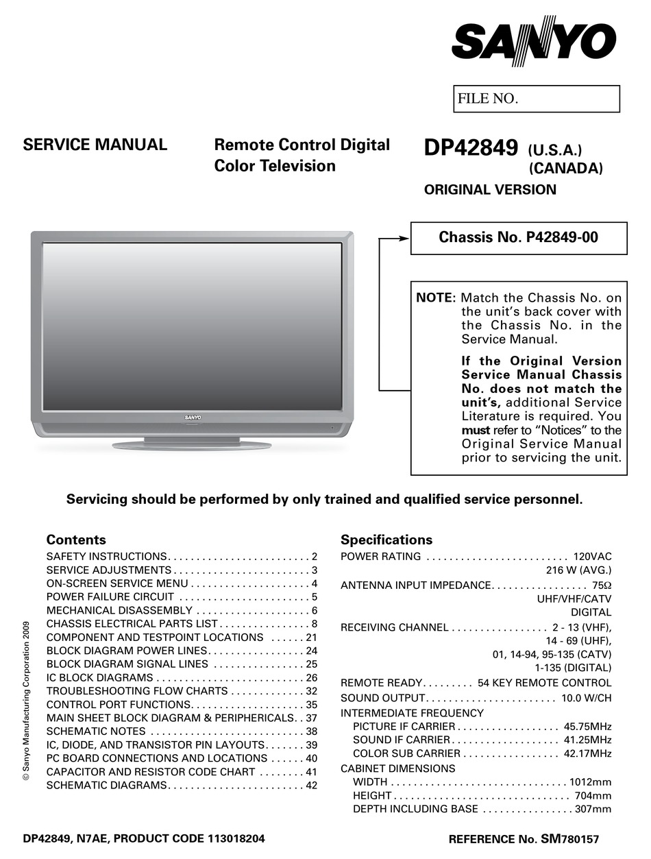 Schematic Diagram Dp40 Sanyo Tv   Fusebox and Wiring Diagram ...