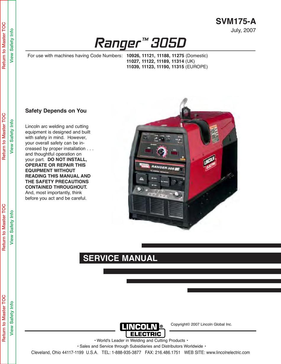 lincoln electric ranger 305d svm175-a service manual pdf download |  manualslib  manualslib