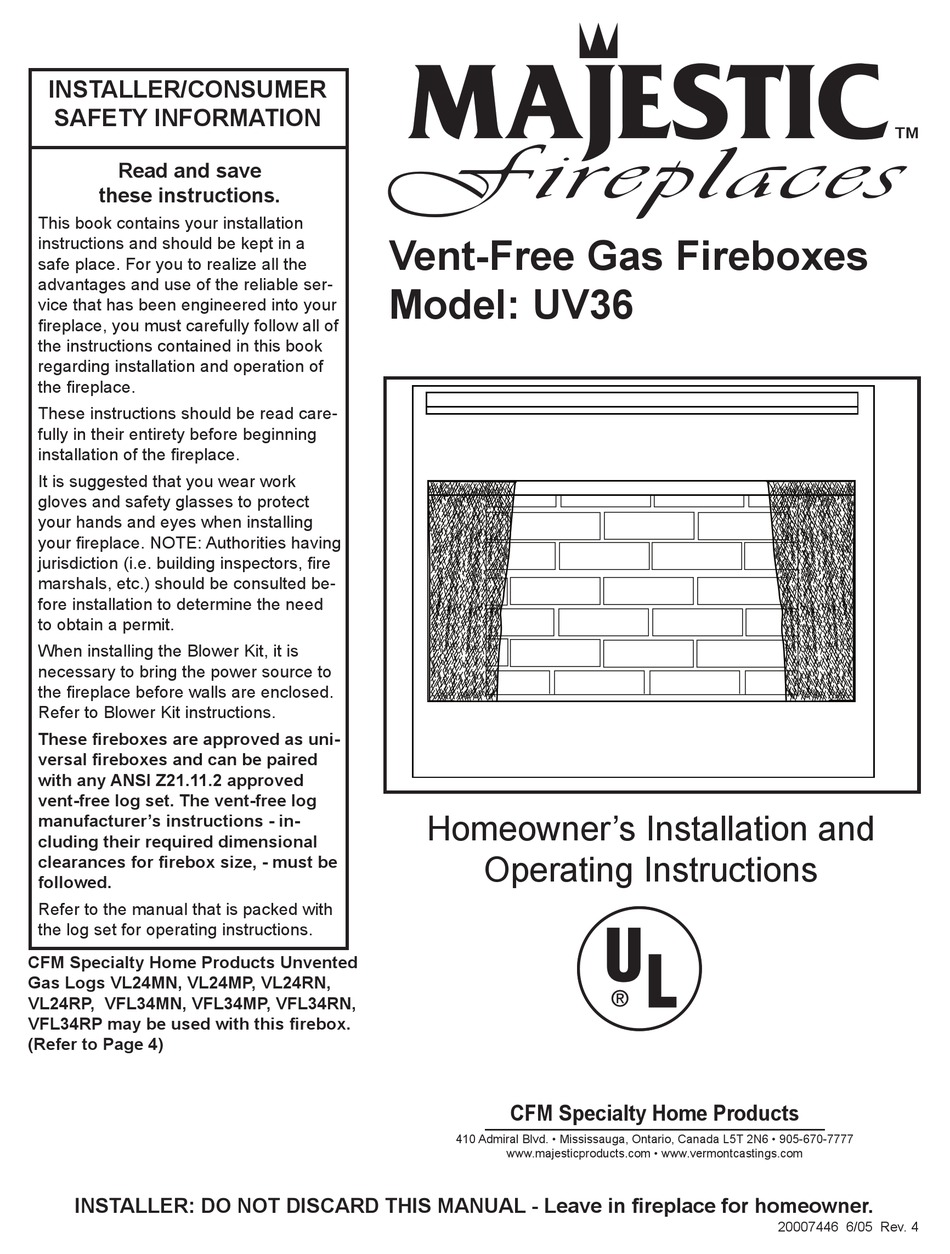 Majestic Fireplaces Uv36 Homeowner S Installation And Operating Instructions Manual Pdf Download Manualslib