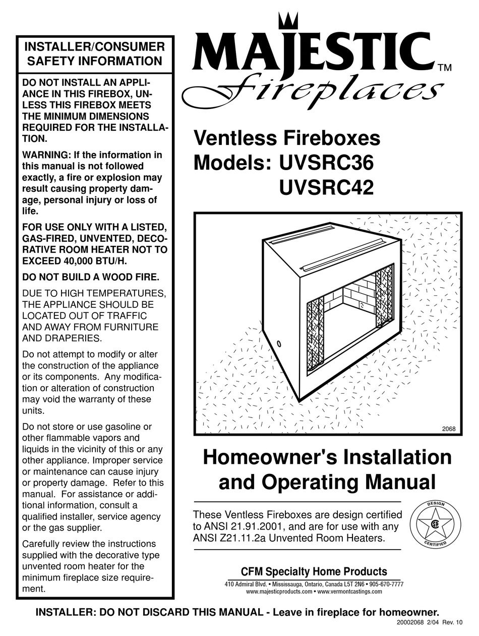 Majestic Fireplaces Uvsrc36 Homeowner S Installation And Operating Manual Pdf Download Manualslib