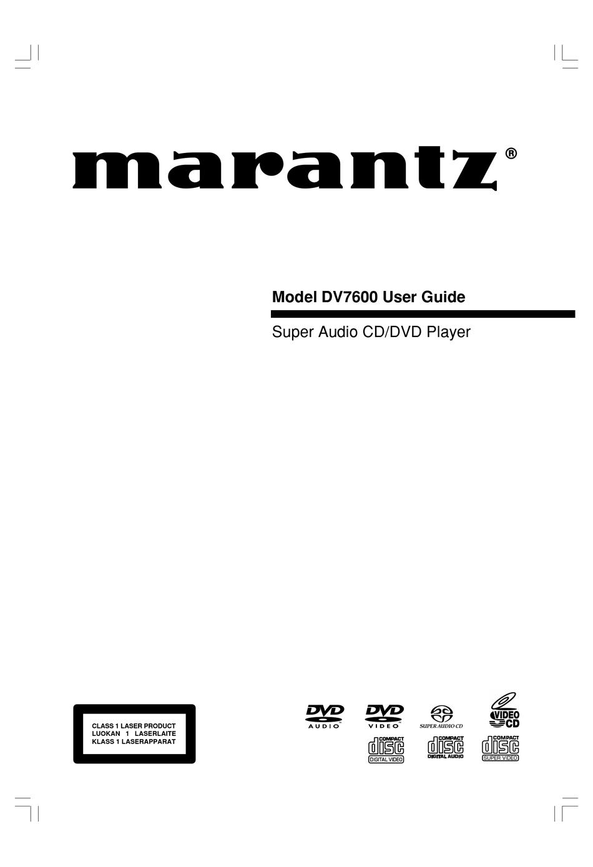 Marantz Dv7600 User Manual Pdf Download Manualslib