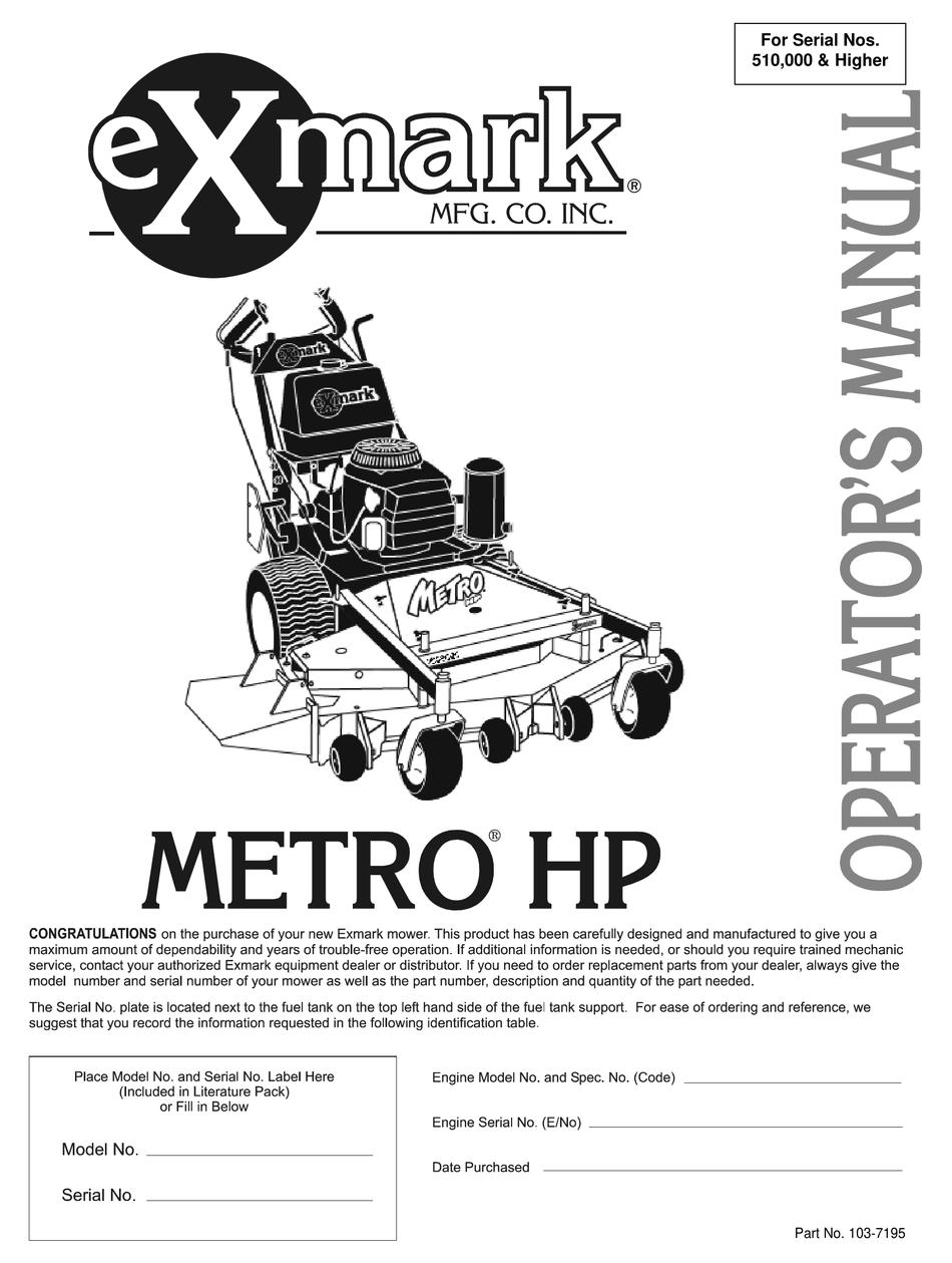 Exmark Mhp3615kac Mhp4815kac Operator S Manual Pdf Download Manualslib
