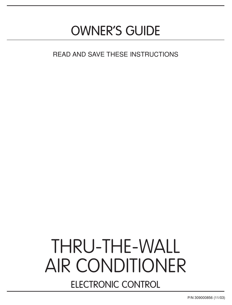 Frigidaire Thru The Wall Air Conditioner Owner S Manual Pdf Download Manualslib