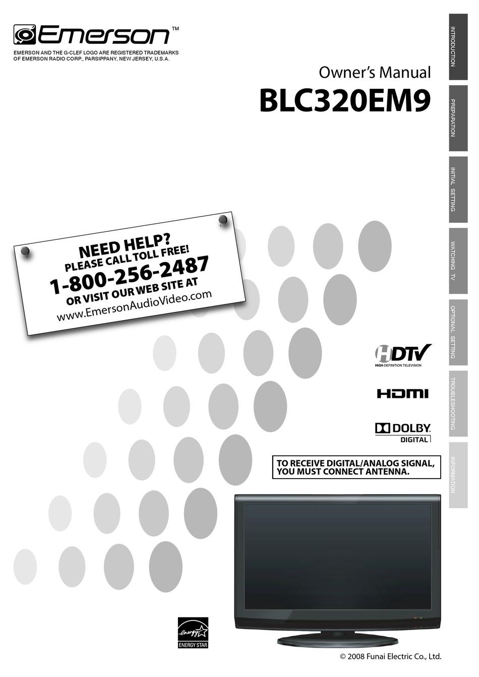 Emerson Lcd Tv Blc320em9 Owner S Manual Pdf Download Manualslib