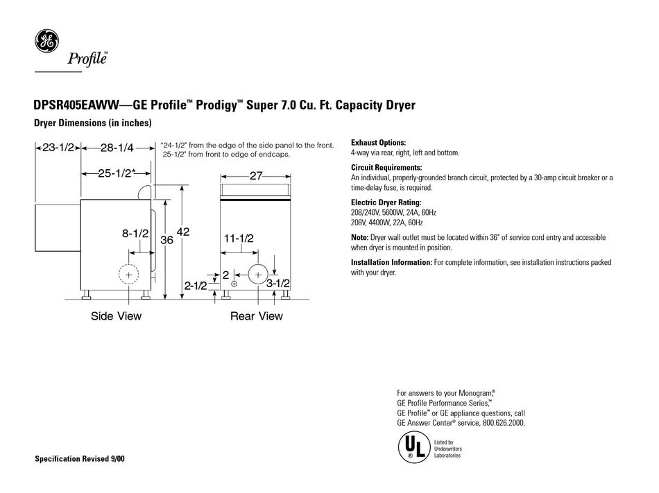 GE PROFILE PRODIGY DPSR405EAAA PRODUCT INFORMATION Pdf Download | ManualsLib | Ge Profile Prodigy Wiring Diagram |  | ManualsLib