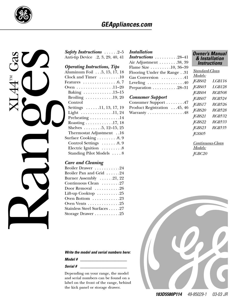GE XL44 SERIES OWNER'S MANUAL & INSTALLATION INSTRUCTIONS Pdf Download |  ManualsLib | Ge Xl44 Oven Wiring Diagram |  | ManualsLib