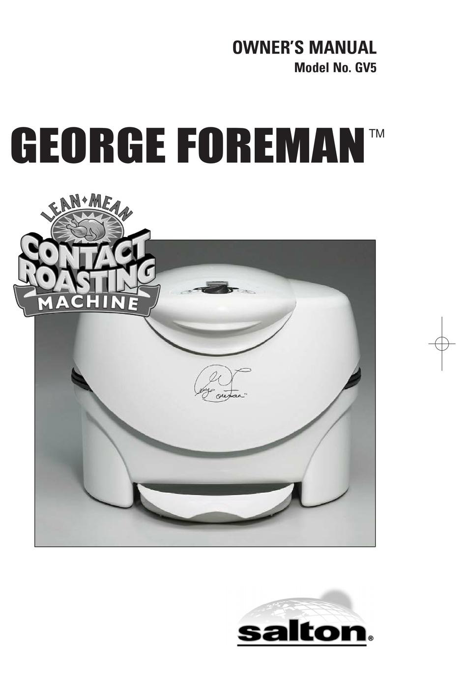 George Foreman Gv5 Owner S Manual Pdf Download Manualslib