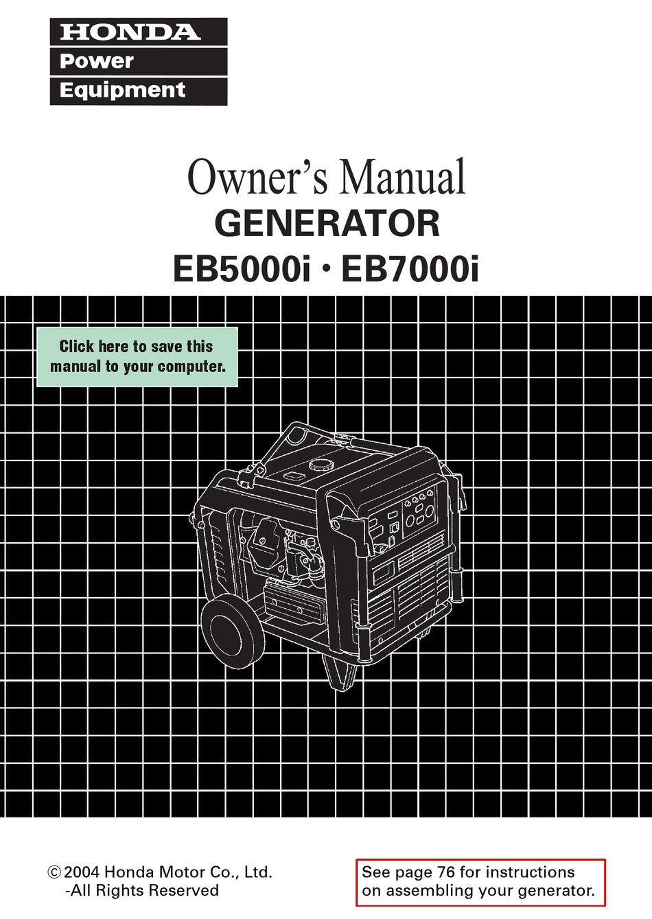 Honda Eb5000i Owner S Manual Pdf Download Manualslib