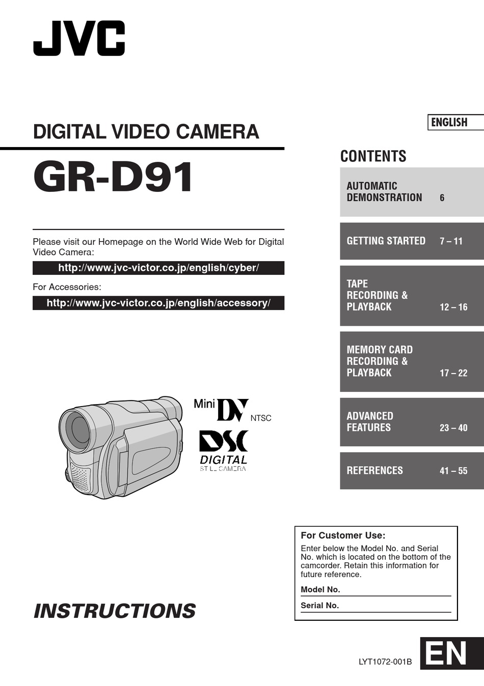 jvc digital video camera gr-d31ek manual