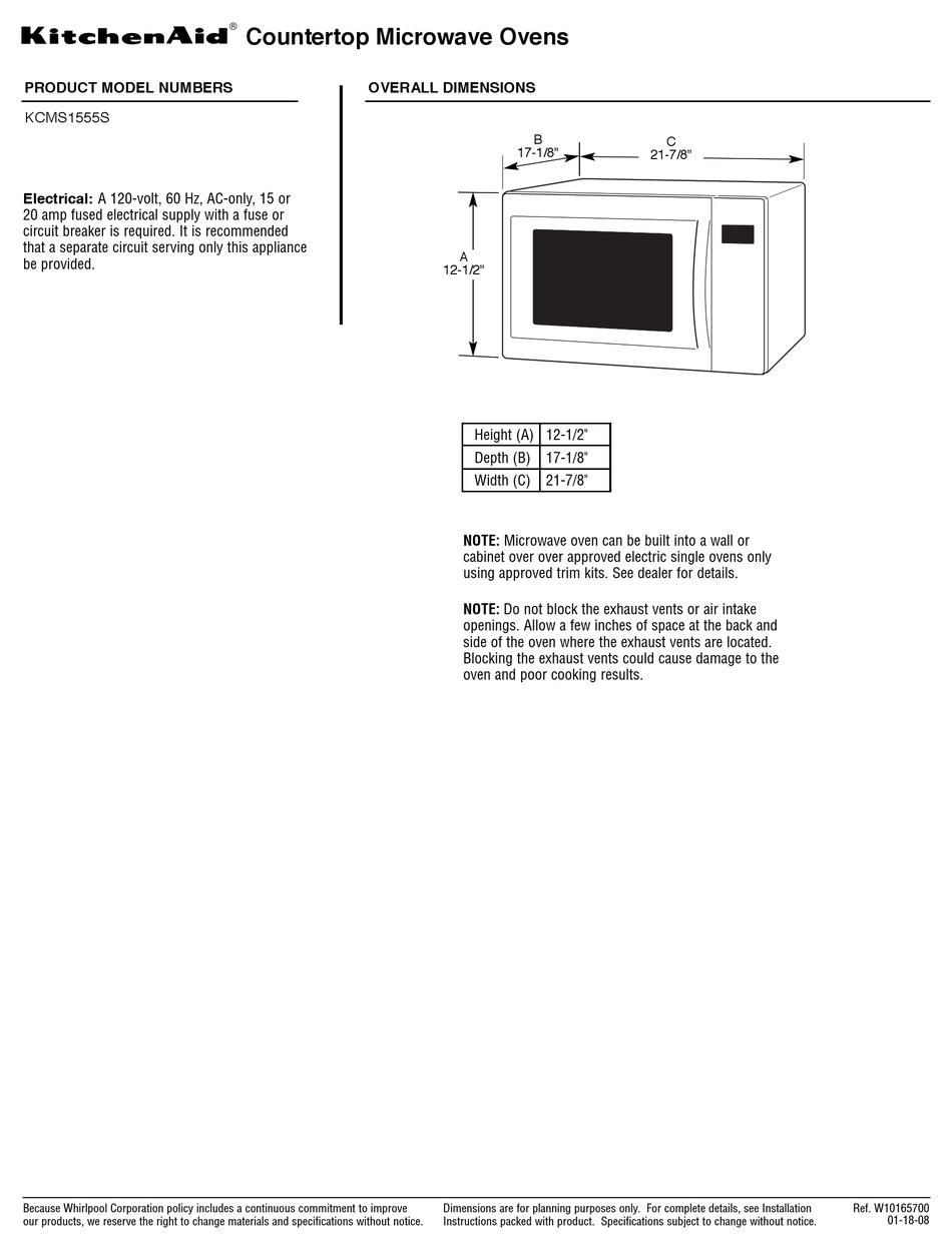 Kitchenaid Kcms1555s Datasheet Pdf Download Manualslib