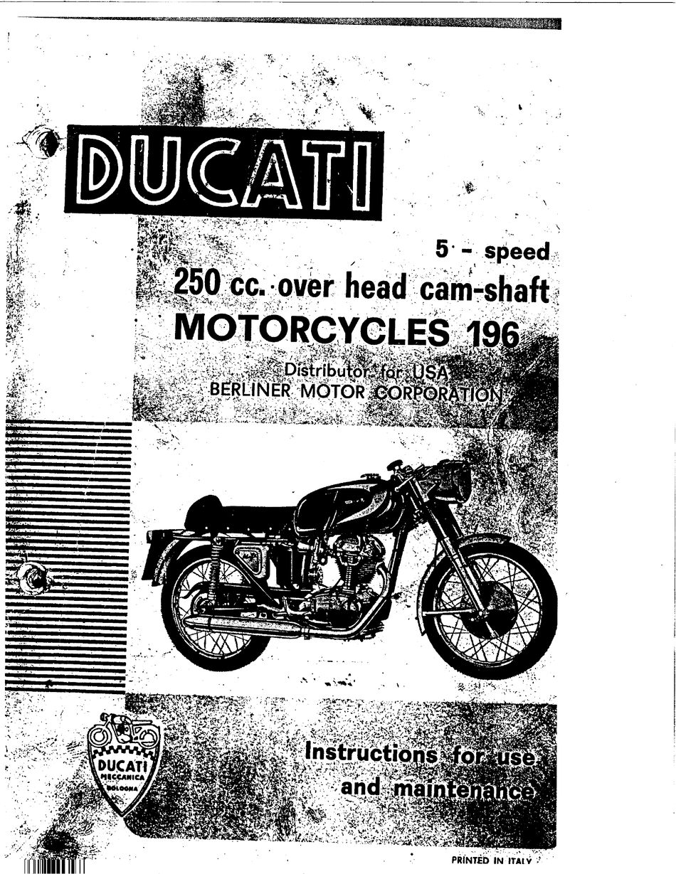 Ducati 250 Gt 1965 Instructions For Use And Maintenance Manual Pdf Download Manualslib