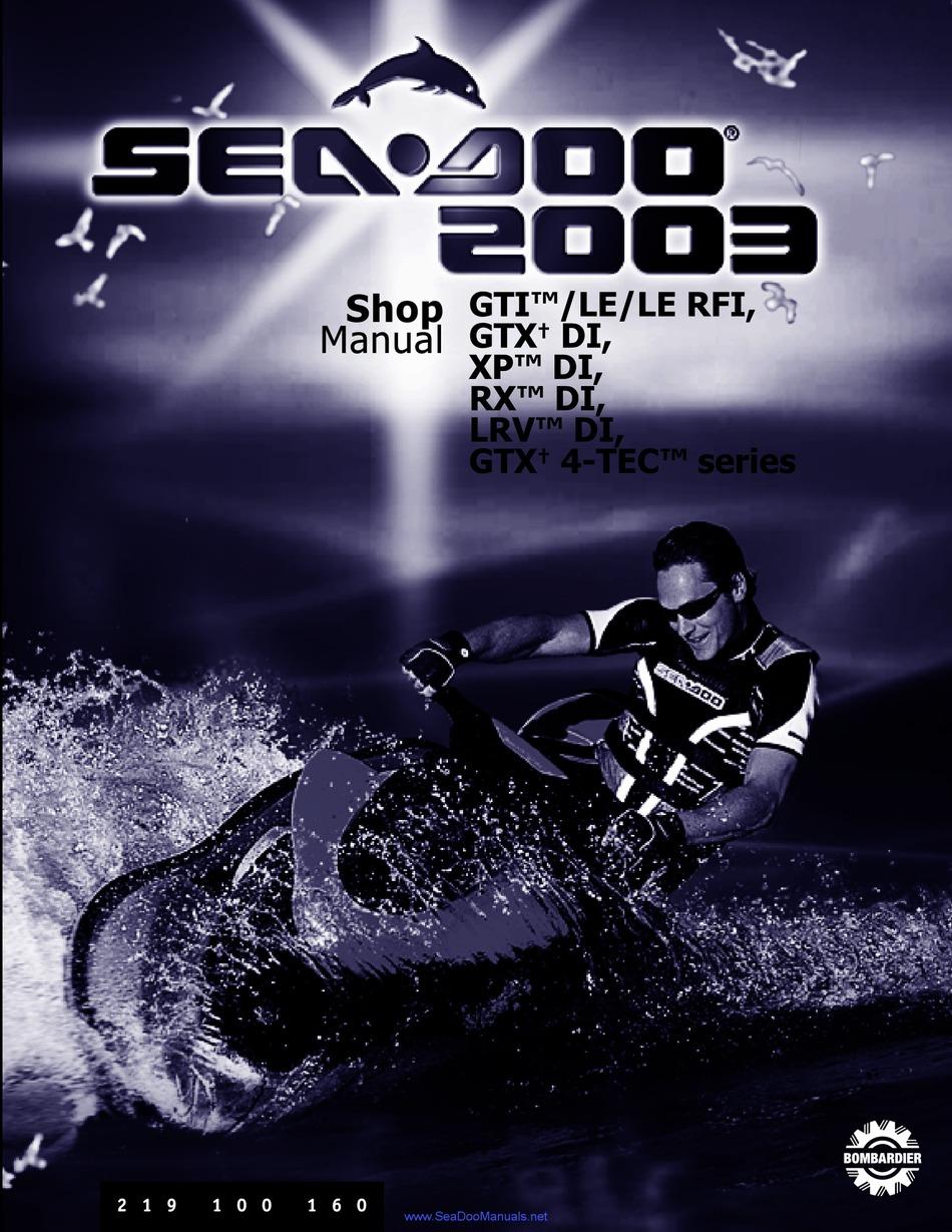 Sea Doo 2003 Xp Di Shop Manual Pdf Download Manualslib
