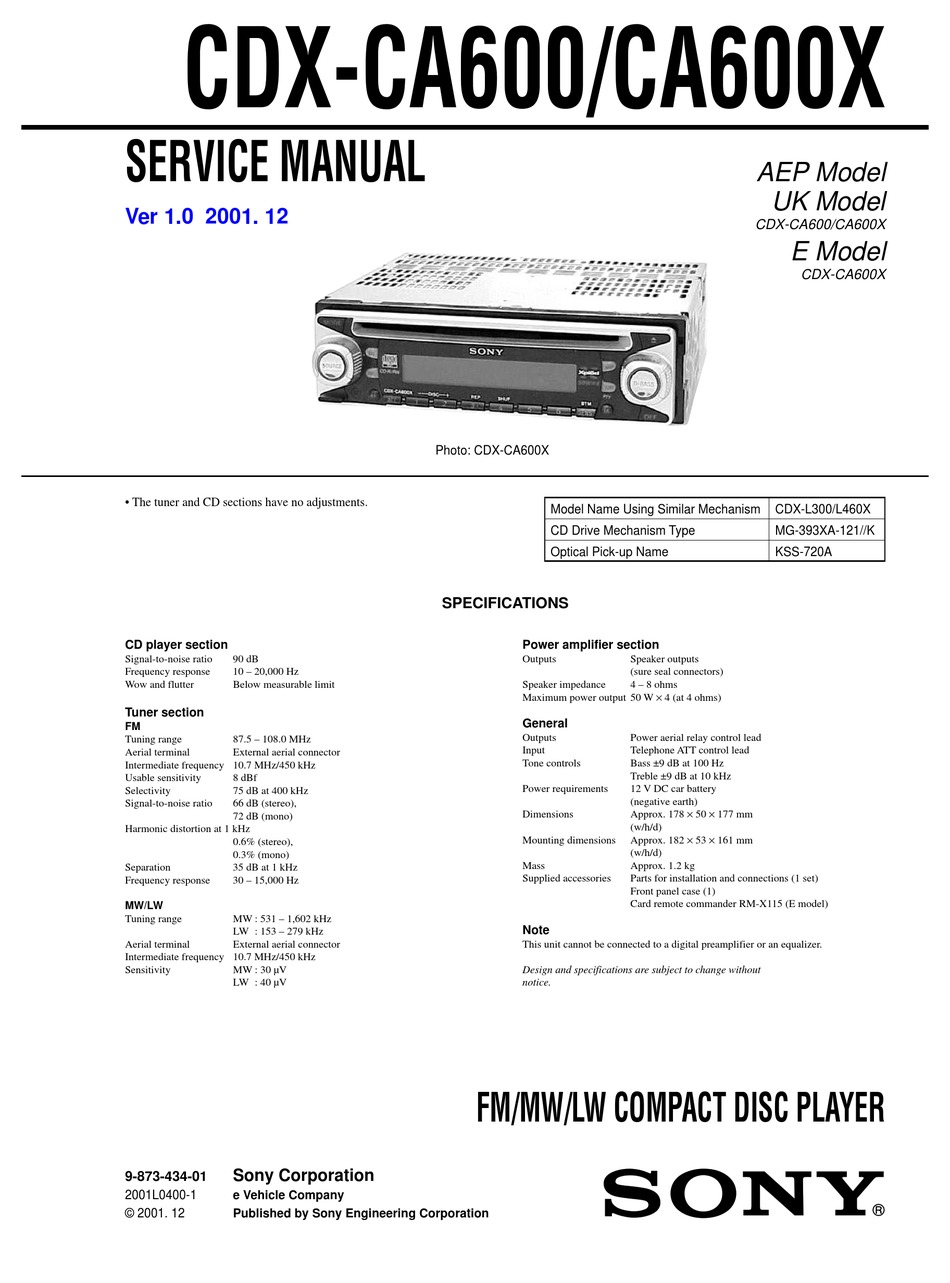 Sony Cdx Ca600 Service Manual Pdf Download Manualslib