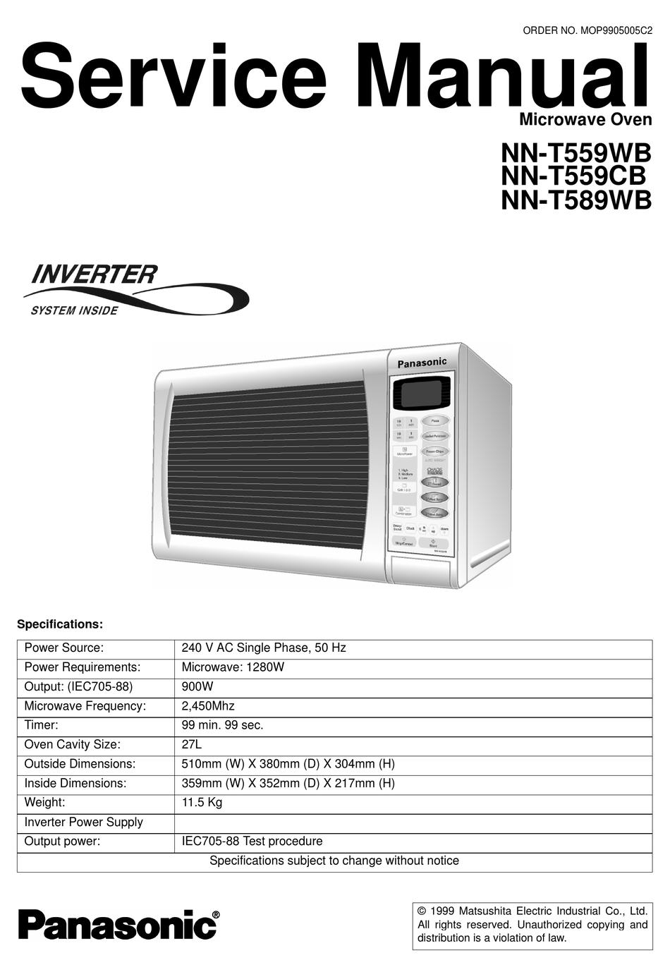 Panasonic Nn T559wb Service Manual Pdf Download Manualslib