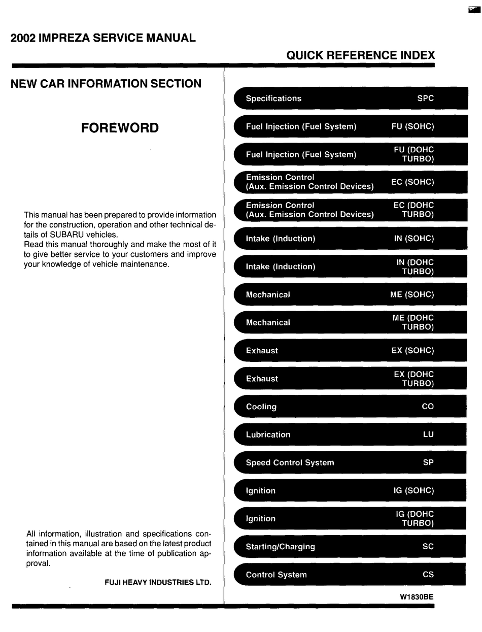 Subaru 2002 Impreza Service Manual Pdf Download Manualslib
