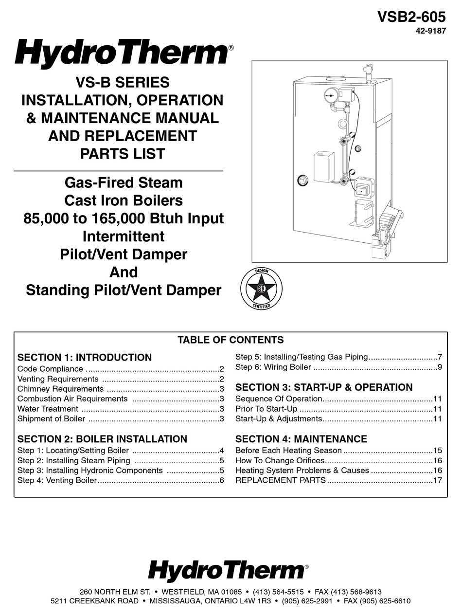 HYDROTHERM VSB2-605 INSTALLATION, OPERATION & MAINTENANCE MANUAL AND  REPLACEMENT PARTS LIST Pdf Download | ManualsLib | Hydrotherm Furnace Wiring Diagram |  | ManualsLib