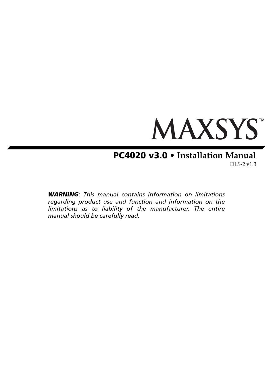 Dsc Maxsys Pc4020 Installation Manual Pdf Download Manualslib