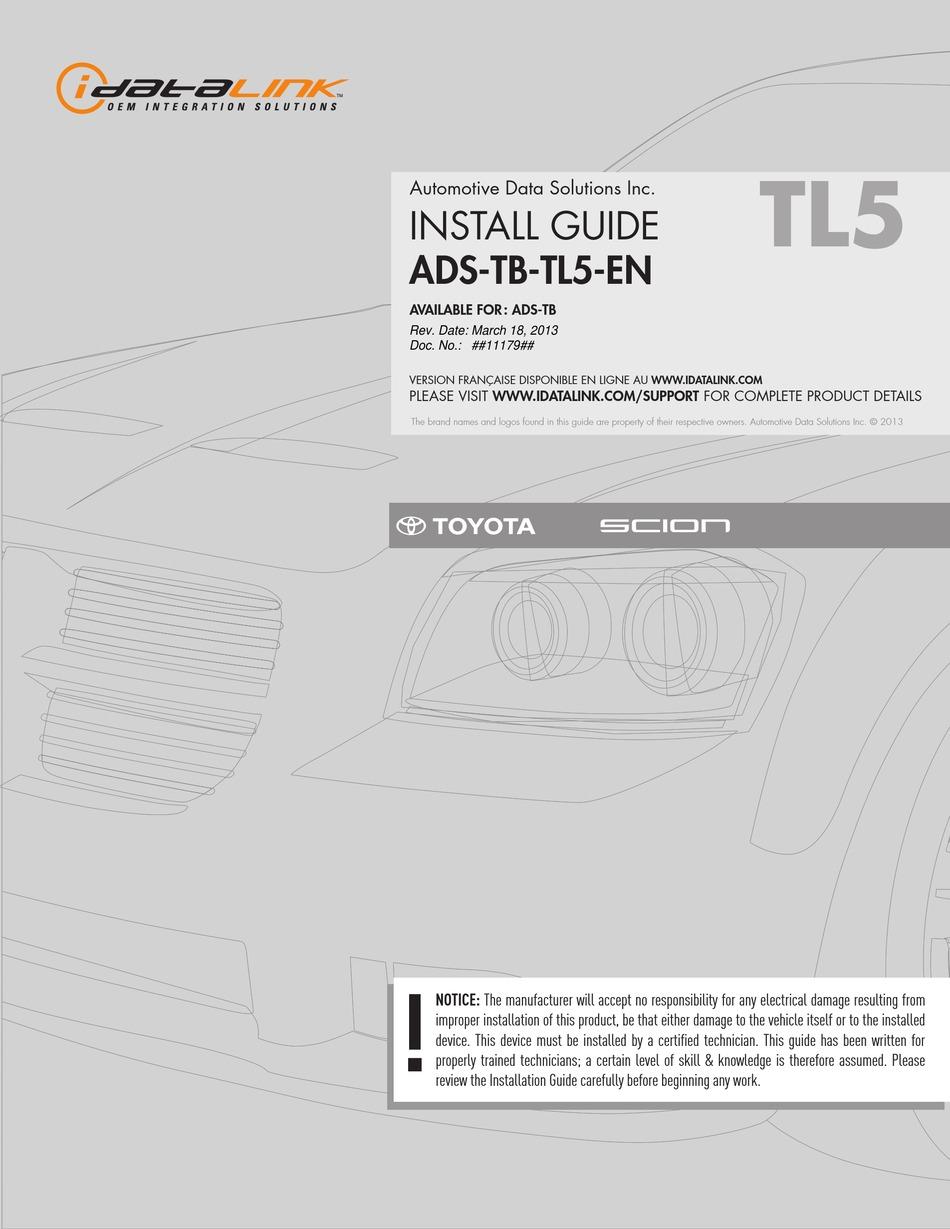 IDATALINK ADS TB TL40 EN INSTALL MANUAL Pdf Download   ManualsLib