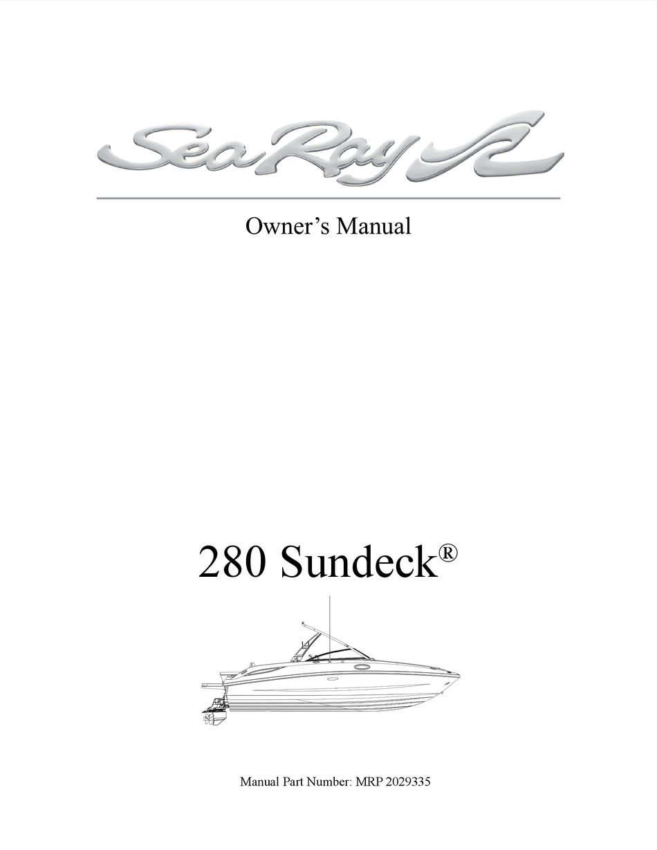 Sea Ray 280 Sundeck Owner S Manual Pdf Download Manualslib