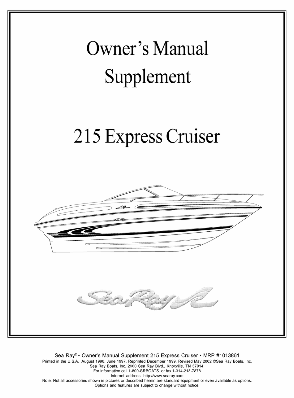 Sea Ray 215 Express Cruiser Owner S Manual Supplement Pdf Download Manualslib
