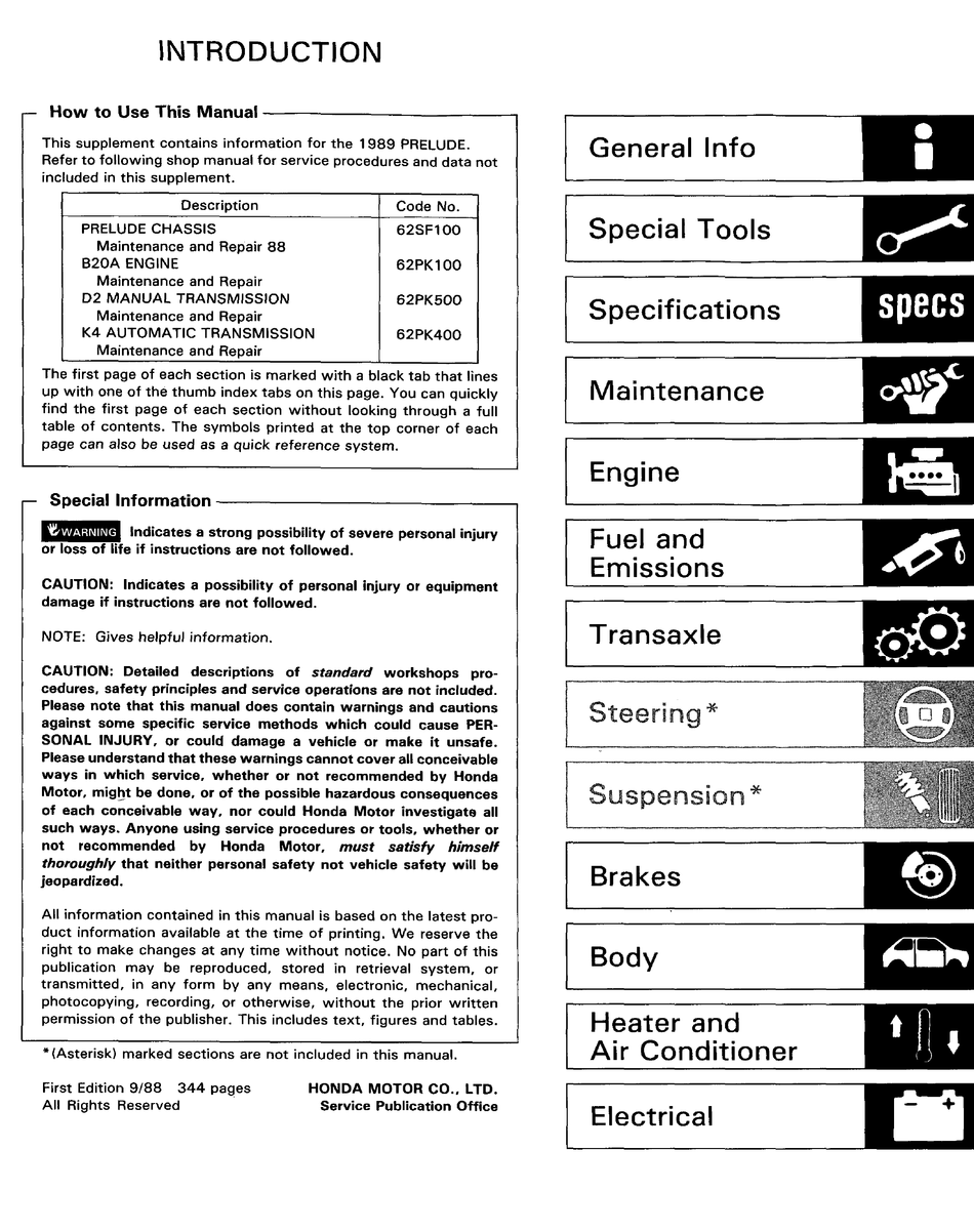 Honda 1989 Prelude Service Manual Pdf Download Manualslib