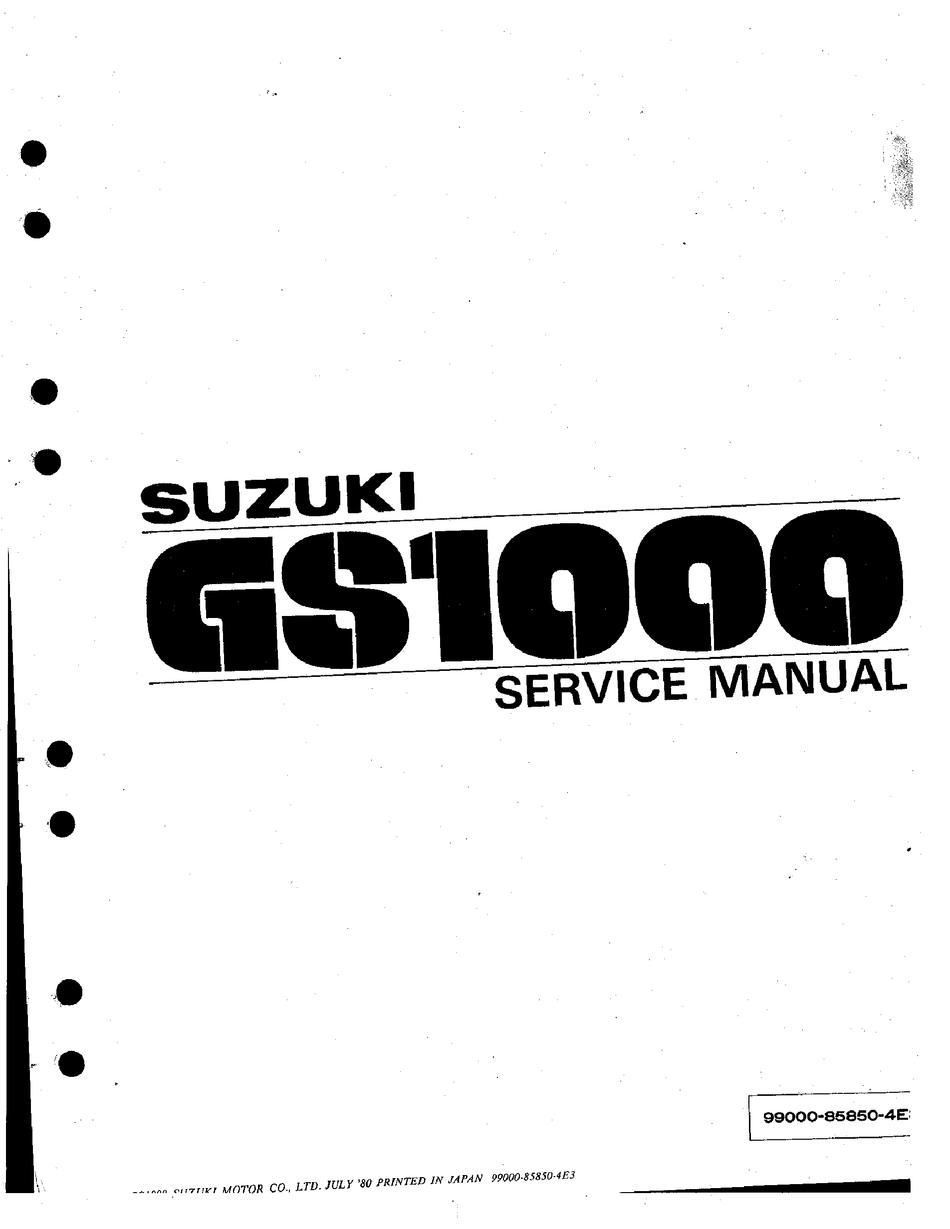 SUZUKI GS1000 SERVICE MANUAL Pdf Download | ManualsLibManualsLib