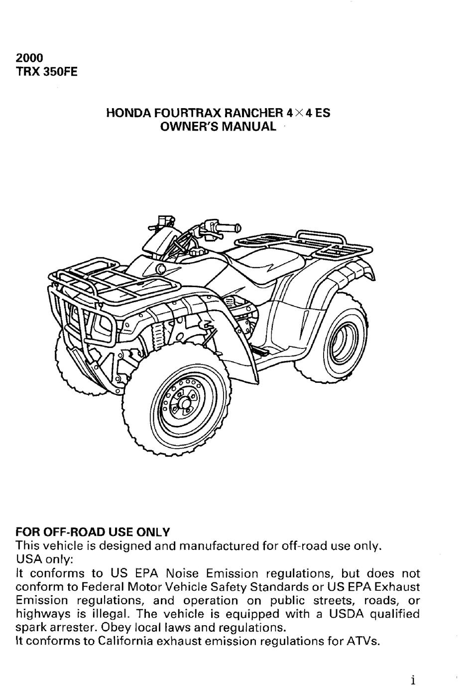 Honda 2000 Trx 350fe Fourtrax Rancher 4x4 Es Owner S Manual Pdf Download Manualslib