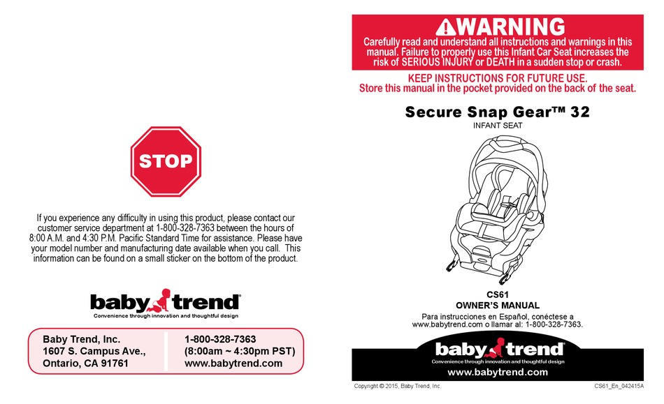 Baby Trend Secure Snap Gear 32 Cs61, Baby Trend Snap Gear Car Seat