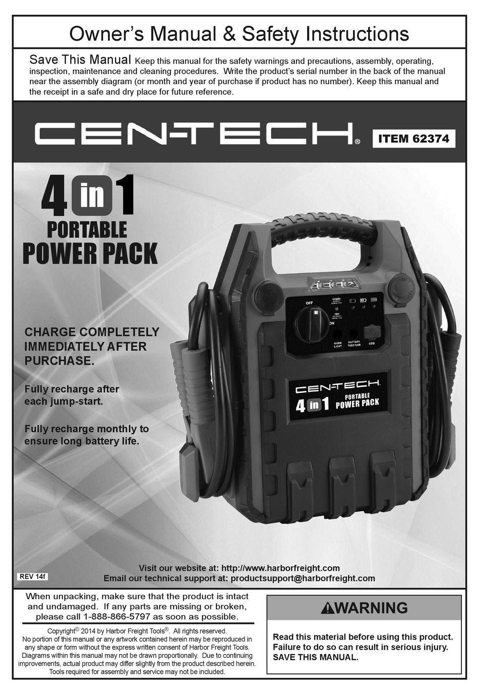 Cen Tech 62374 Owner S Manual Safety Instructions Pdf Download Manualslib