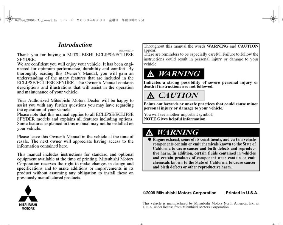 mitsubishi eclipse owner's manual pdf download | manualslib  manualslib