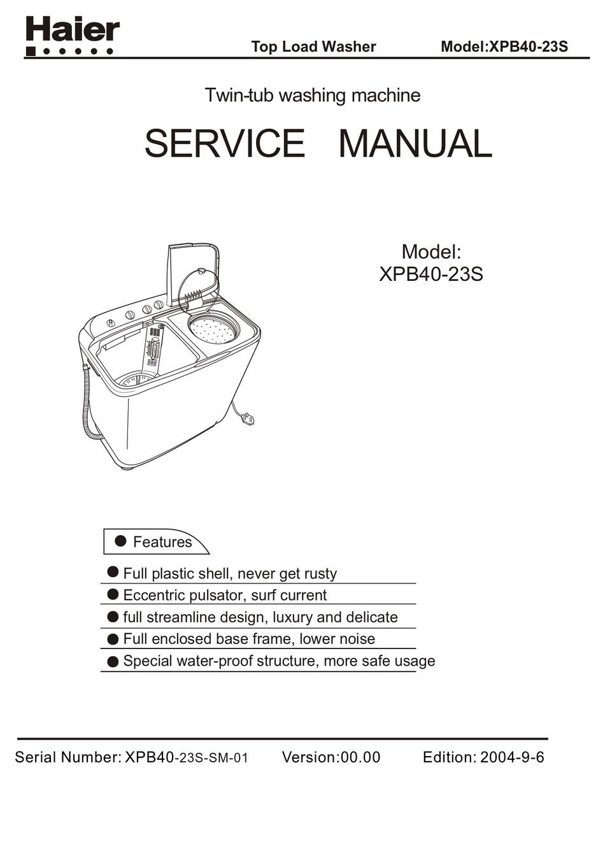 HAIER XPB40-23S SERVICE MANUAL Pdf Download | ManualsLib | Twin Tub Washing Machine Wiring Diagram |  | ManualsLib
