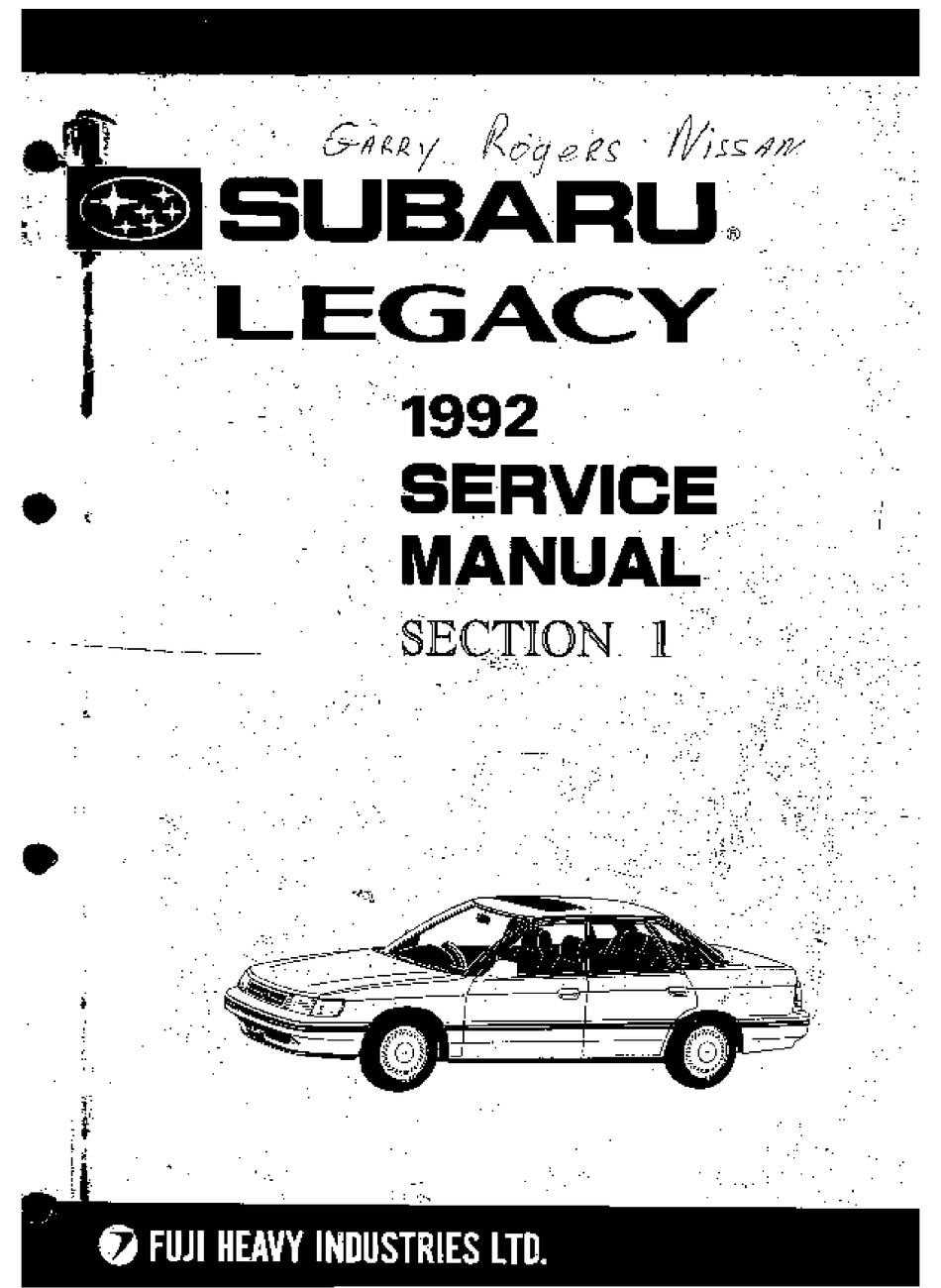 Subaru 1992 Legacy Service Manual Pdf Download Manualslib