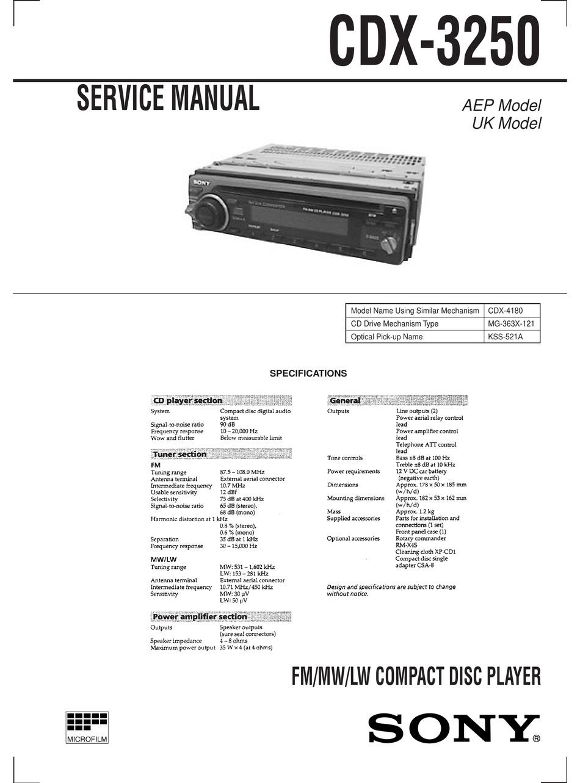 Sony Cdx 3250 Service Manual Pdf