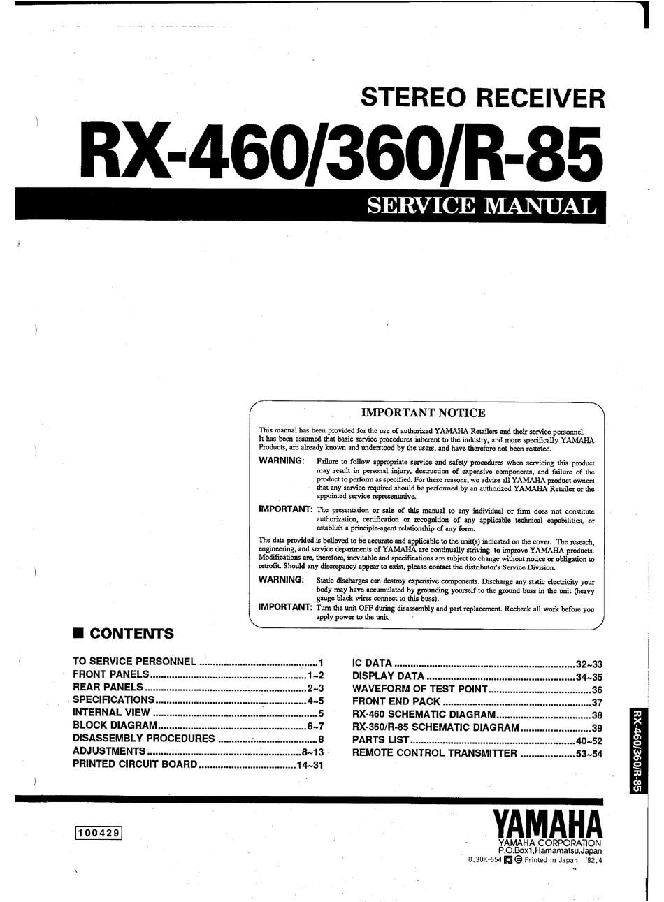 Yamaha Rx 460 Service Manual Pdf Download Manualslib