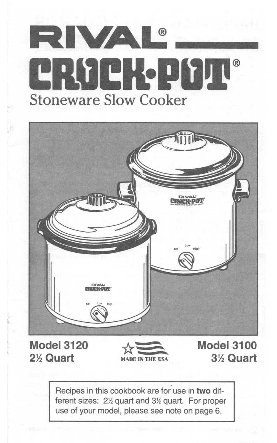 Rival Crock Pot 3120 Instruction And Recipe Book Pdf Download Manualslib