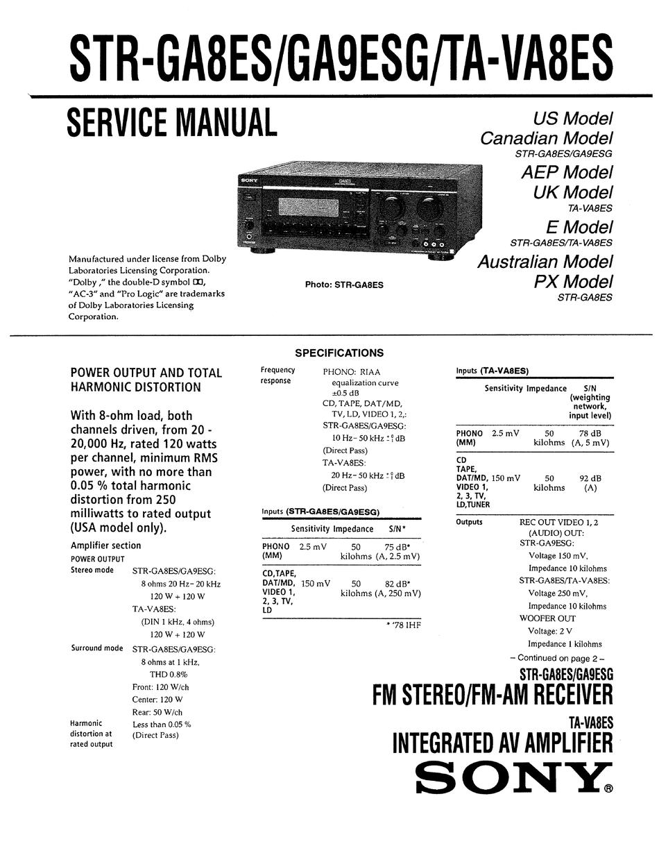 Sony Ta Va8es Service Manual Pdf Download Manualslib