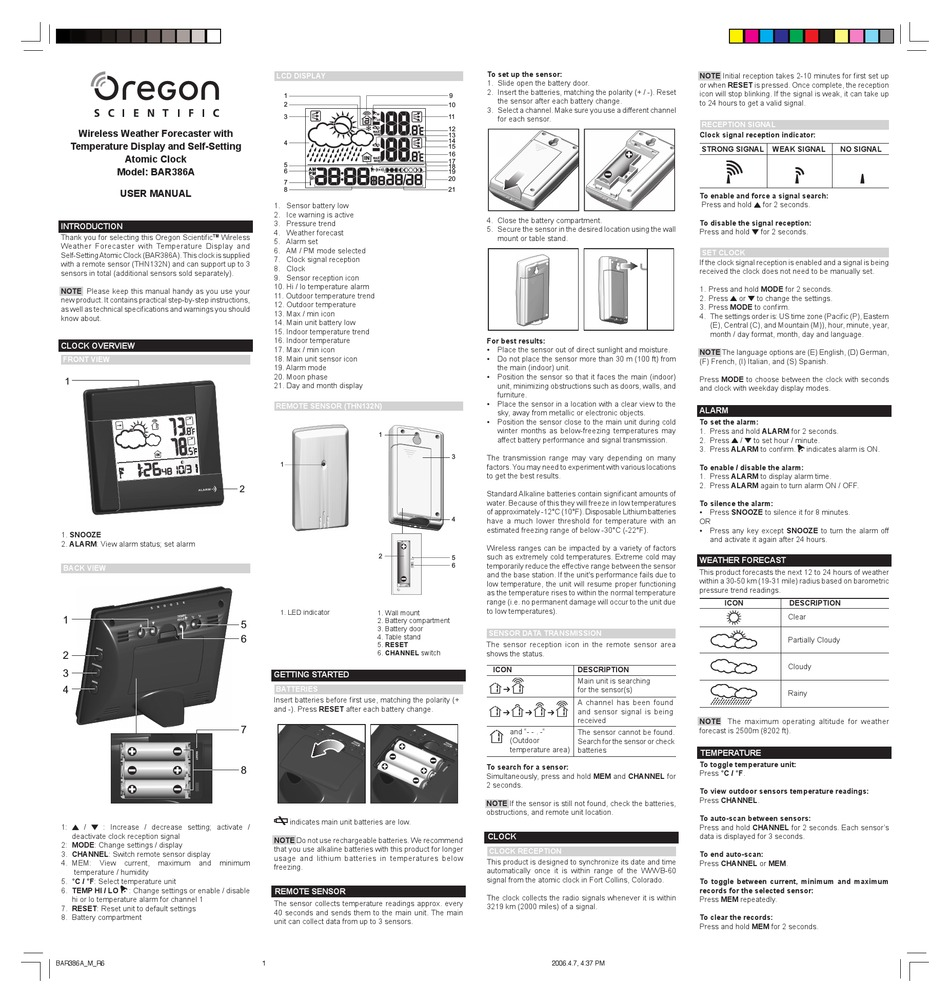 Oregon Scientific Bar386a Manual Pdf Download Manualslib