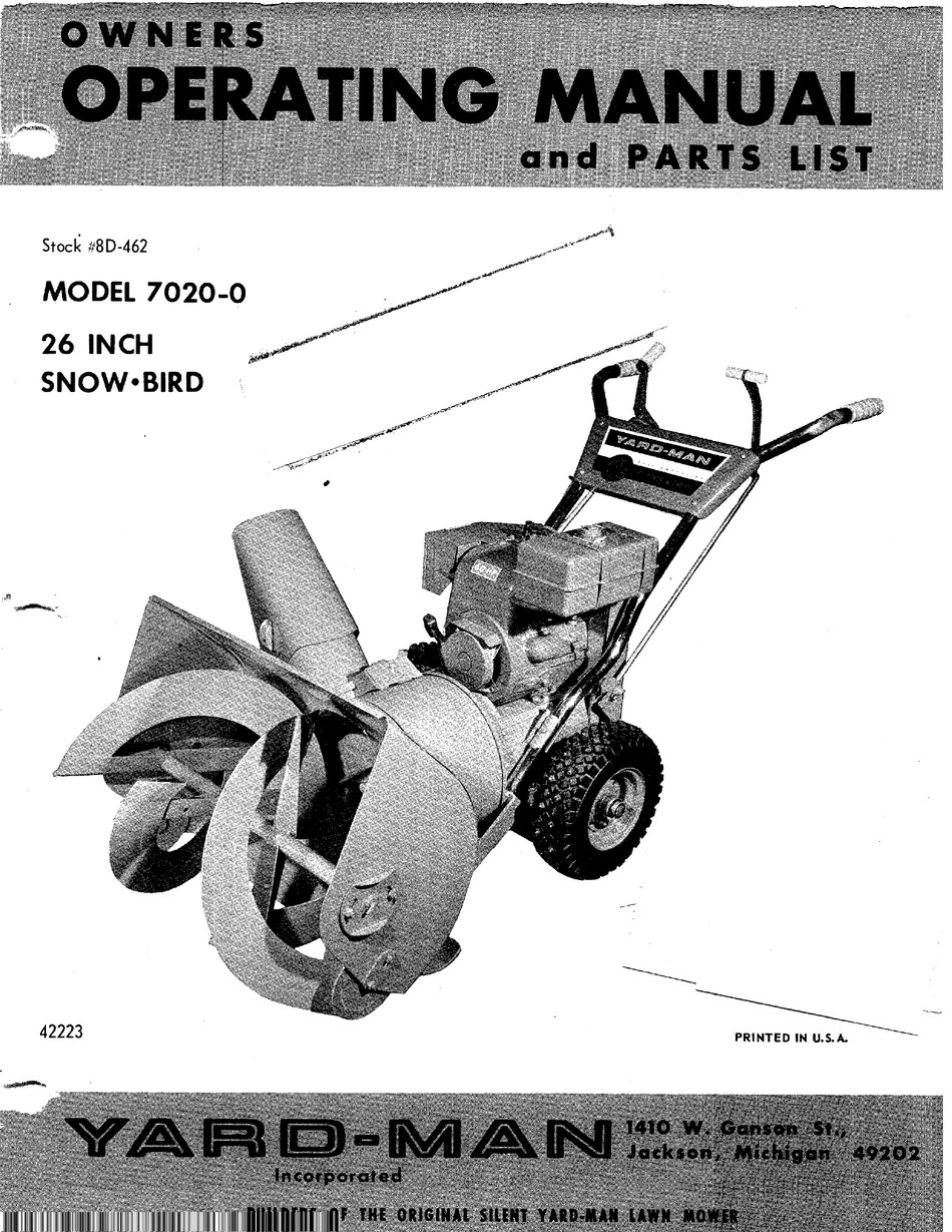Yard Man 7020 0 Snow Bird Owner S Operating Manual Pdf Download Manualslib
