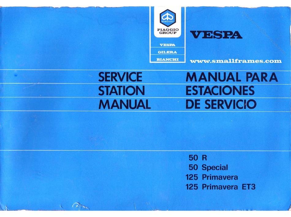 Vespa 50 Special Service Manual Pdf Download Manualslib